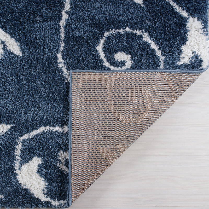 Shaggy Rabat Abstract Pattern Sustainable Spirals Style Rug in Blue White