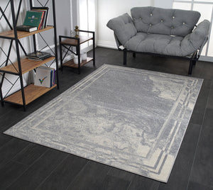 Logan Grey Rustic Bordred Marble Design Modern Contemporary Area Rug