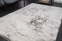 Quadro Grey Ivory Brown Rustic Modern Persian Area Rug