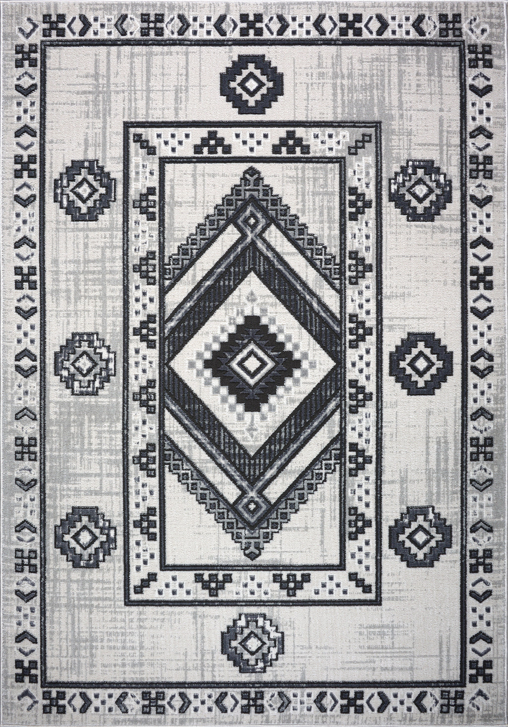 Lucas Dark Light Grey Modern Bordered Geometric Area Rug