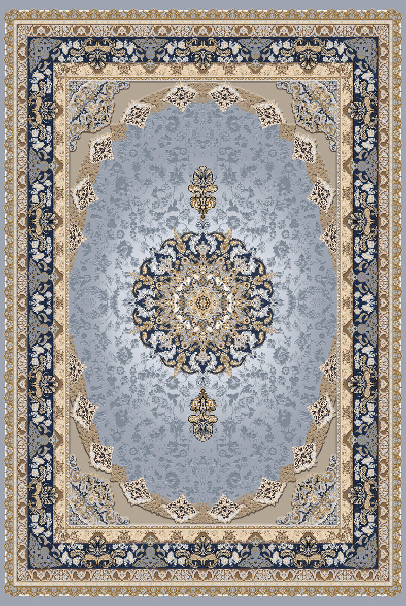 Persian Blue and Beige Flat Pile Area Rug