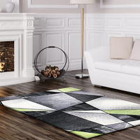Emperor Abstract Green Grey Area Rug -