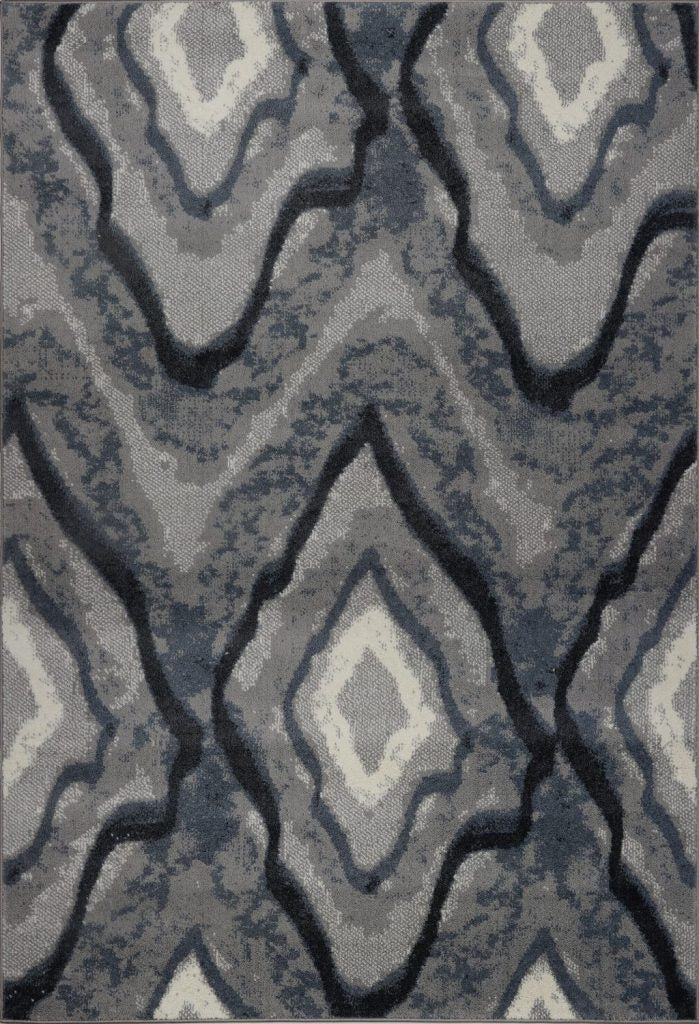Etobicoke Gray Cream Abstract Diamond Area Rug -