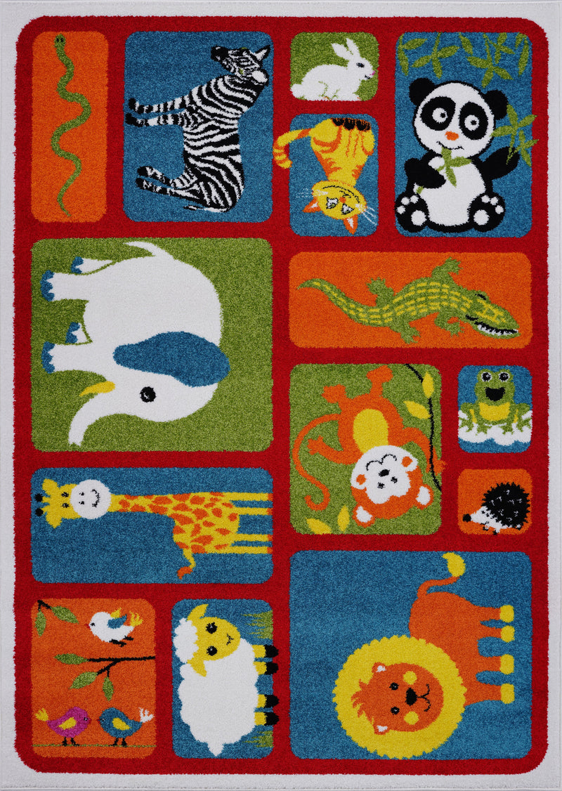 Red Multi Animals Area Rug
