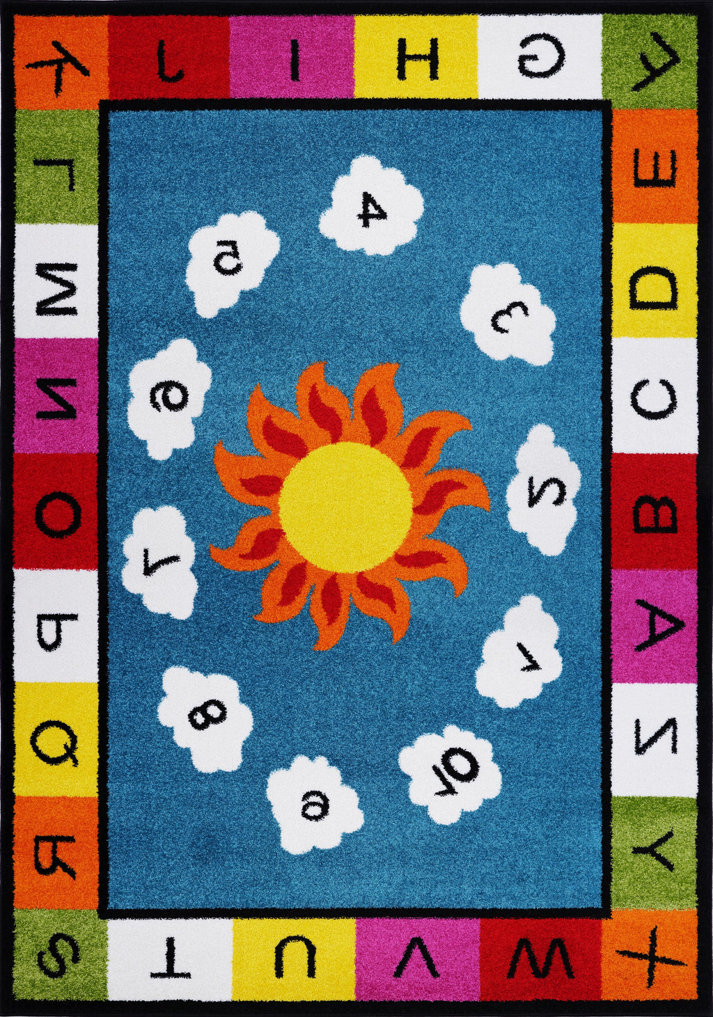Alphabets Numbers Area Rug