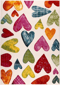 Cream Multi Hearts Area Rug