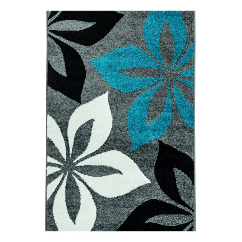 Flower Turquoise Black Gray Area Rug
