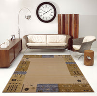 Guinea Cream Grey Border Design Area Rug -