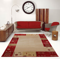 Guinea Red Cream Border Design Area Rug -