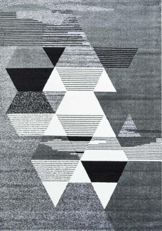 Gray Triangles Contemporary Geometric Area Rug -