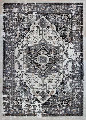 Hanuama Ivory Gray Distressed Design Area Rug -