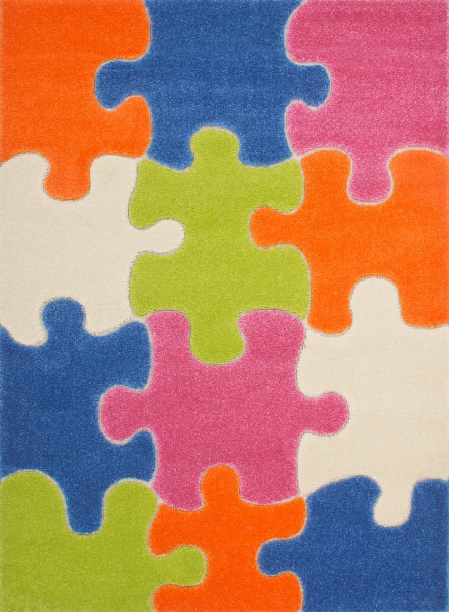 Moda Kids Jigsaw Puzzle Multi Area Rug -