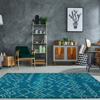 Shaggy Moroccan Turquoise Ivory Area Rug -