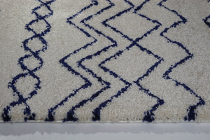 Shaggy Moroccan Ivory Navy Blue Area Rug -