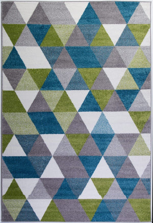 Empire Green Turquoise Triangles Area Rug