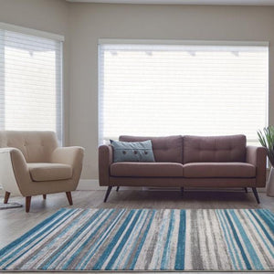 Kensington Teal Ivory Stripes Area Rug -