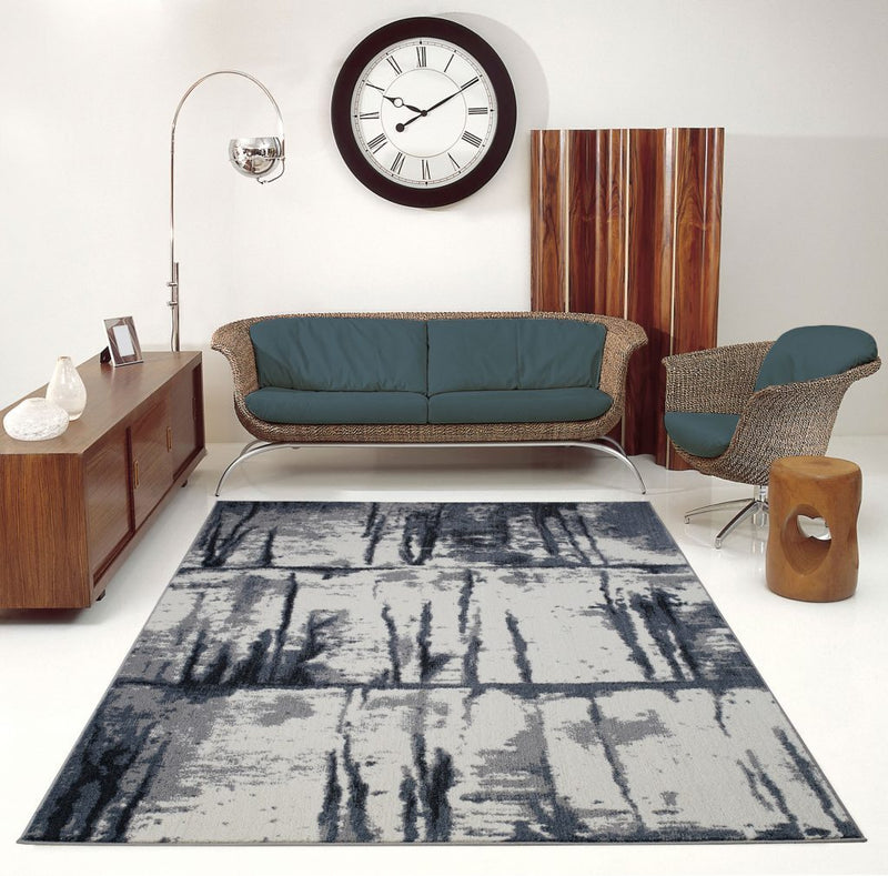 Niagara Gray Ivory Abstract Area Rug -