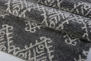 Oriental Motif Gray Ivory Shaggy Area Rug -