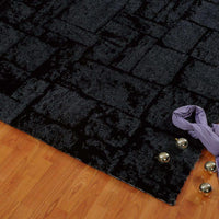 Patch Grey Micro Fiber Shaggy Area Rug -
