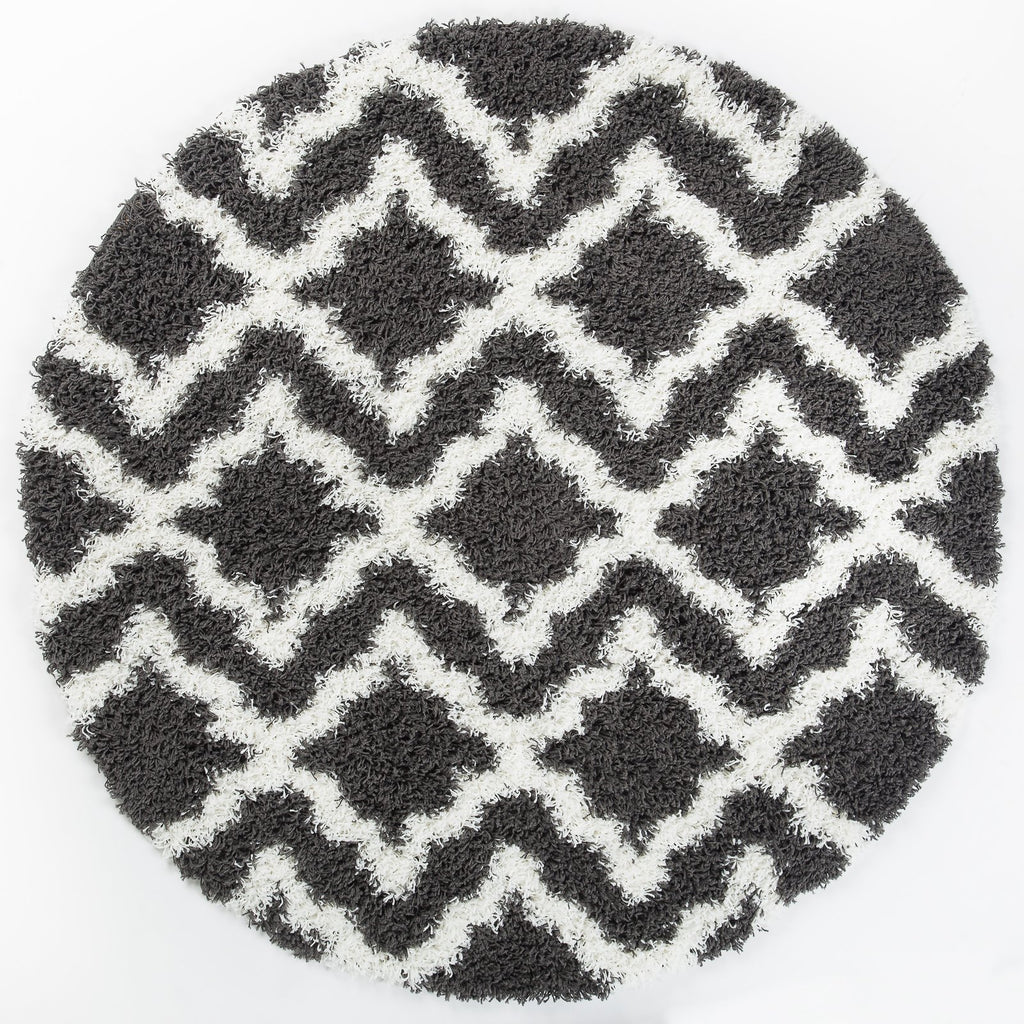 Dark Grey White Trellis Area Rug