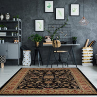Swallowtail Traditional Black Area Rug -