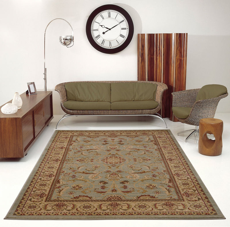 Swallowtail Oriental Green and Cream Area Rug -