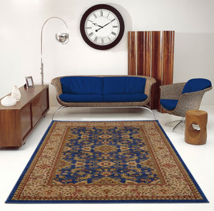 Terra Traditional Blue Cream Area Rug -