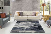 Toronto Sky Gray Abstract Area Rug -