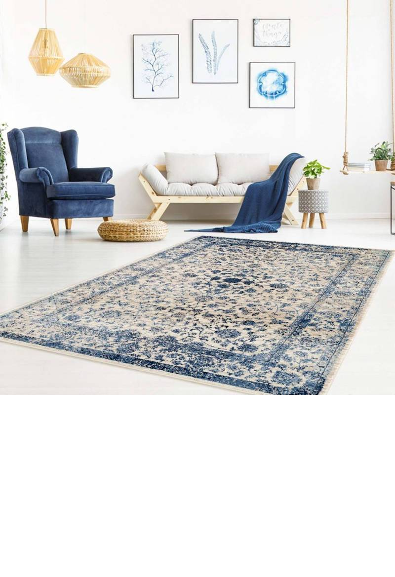 Blue Traditional Anatolia Area Rug Mat Carpet for Living Kitchen small medium large size inches