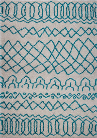 Shaggy Ivory Turquoise Vancouver Area Rug -