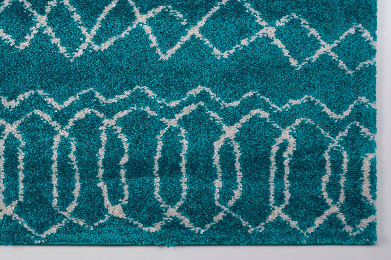 Shaggy Turquoise Ivory Vancouver Area Rug -