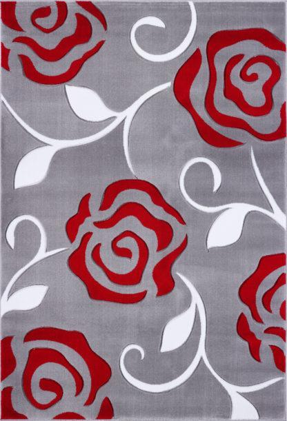 Gray Red Flowers Area Rug