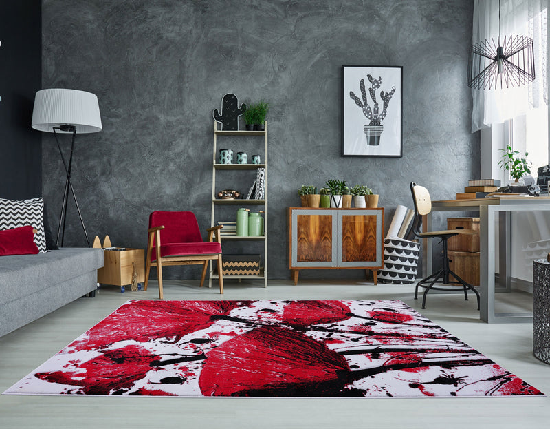 Red Accent Color Area Rug