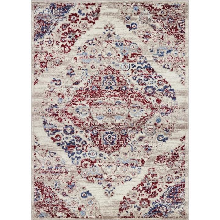 Kentucky Pearl Blue Red Traditional Area Rug