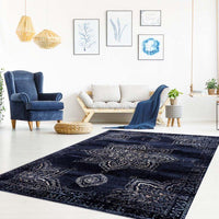 Florida Navy Ivory Traditional Area Rug
