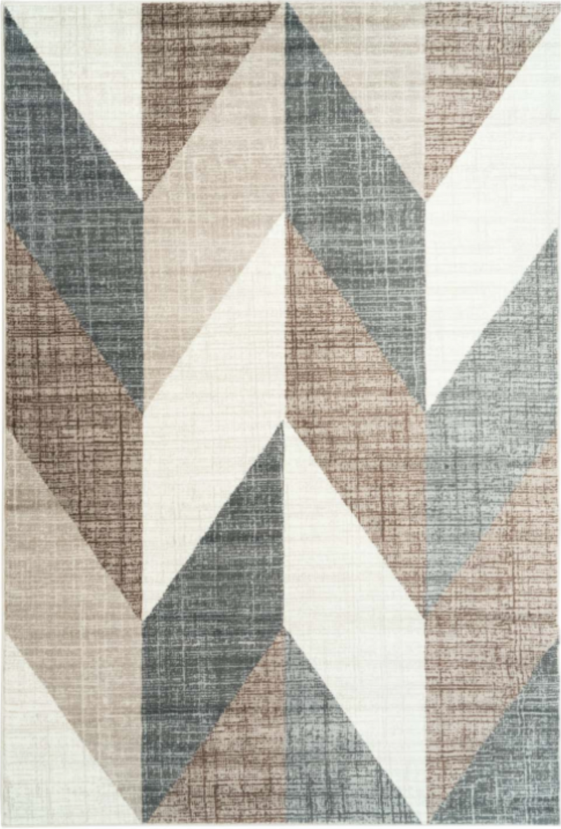 Vintage Chevron Beige Brown Area Rug