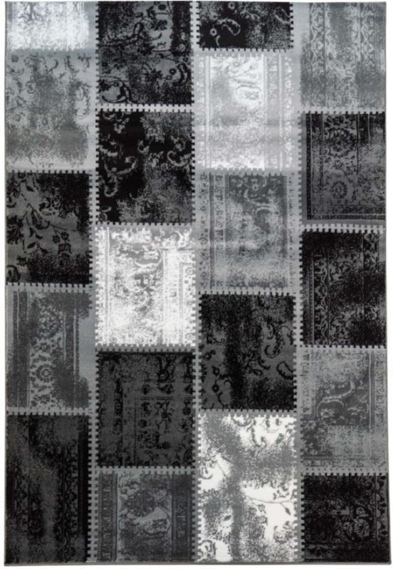 Vintage Black Patch Area Rug -