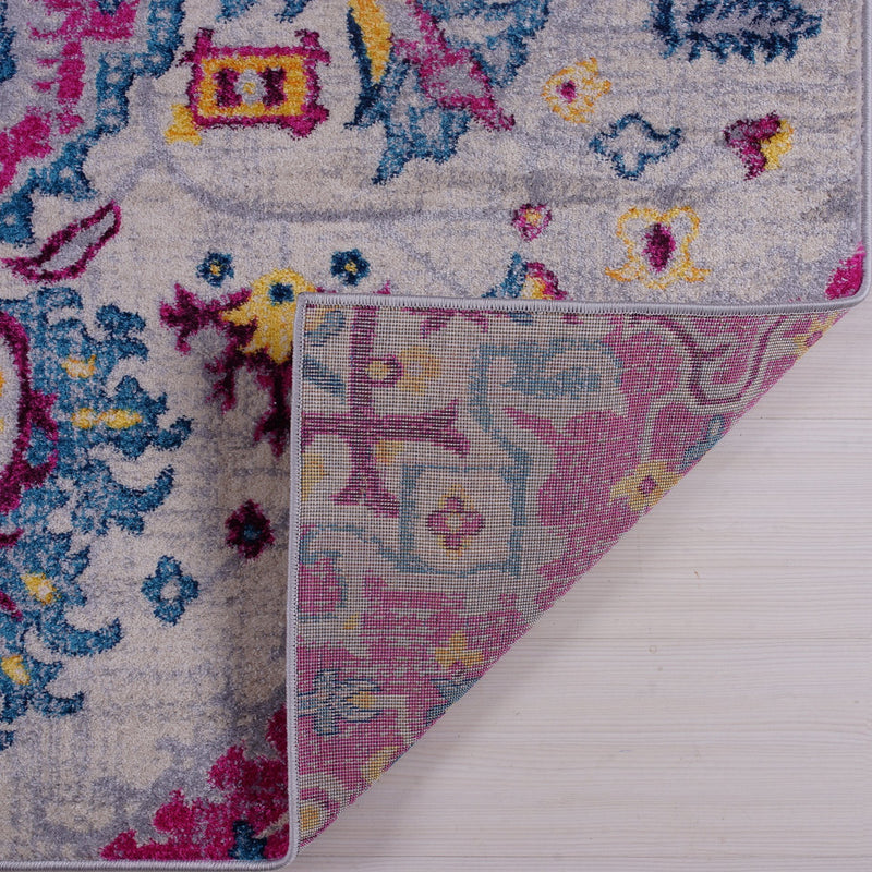Shareen Traditional Design Soft Sustainable Mat Carpet in Pink Multicolor