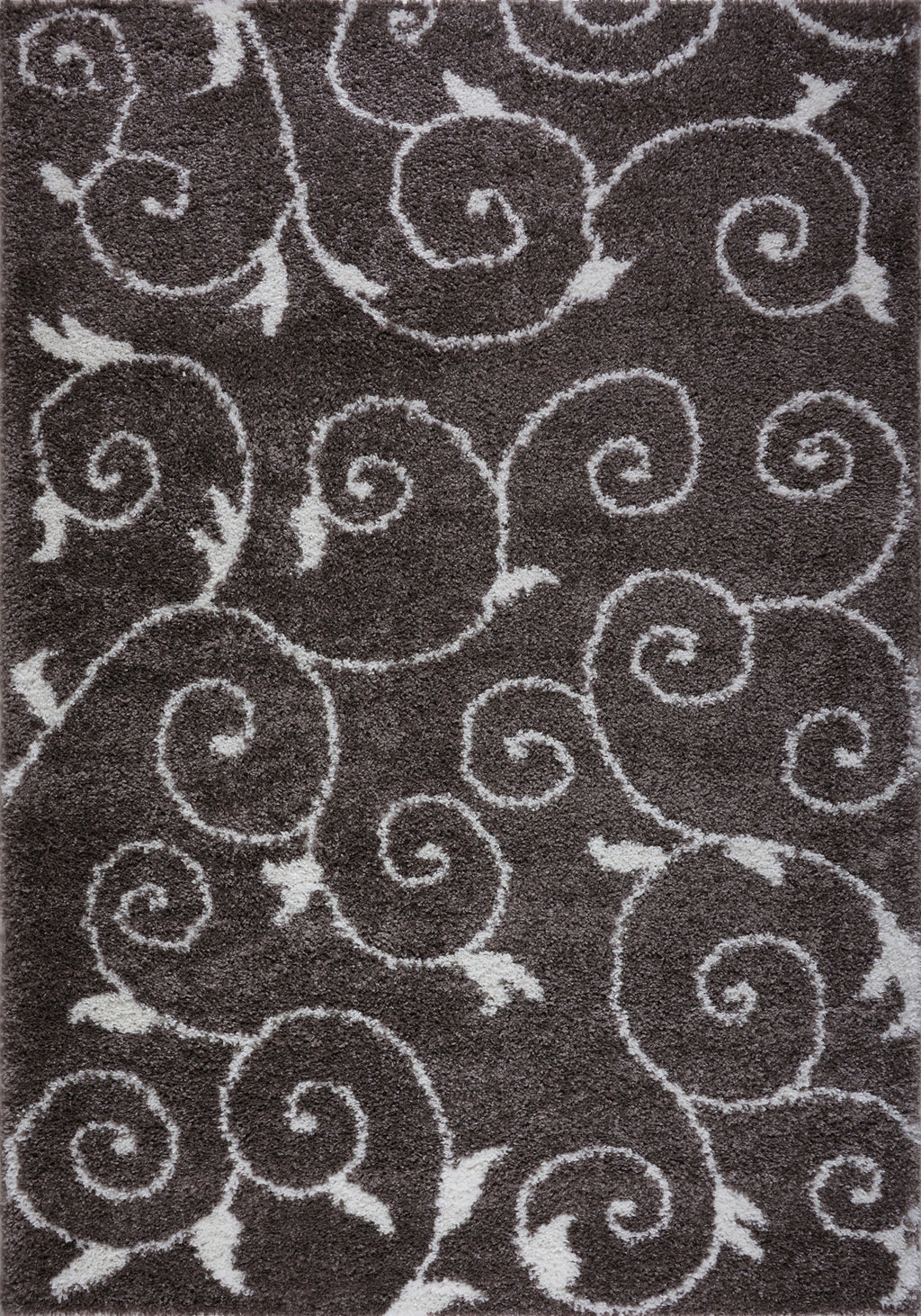 "Shaggy Rabat Abstract Pattern Sustainable Spirals Style Indoor Big Runner Rug, Mink White, 2'7"" x 9'10"" (80 cm x 300 cm)"