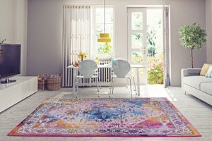 Modena Traditional Design Turkish Machine Made Beautiful Indoor Mat Carpet in Orange Multicolor