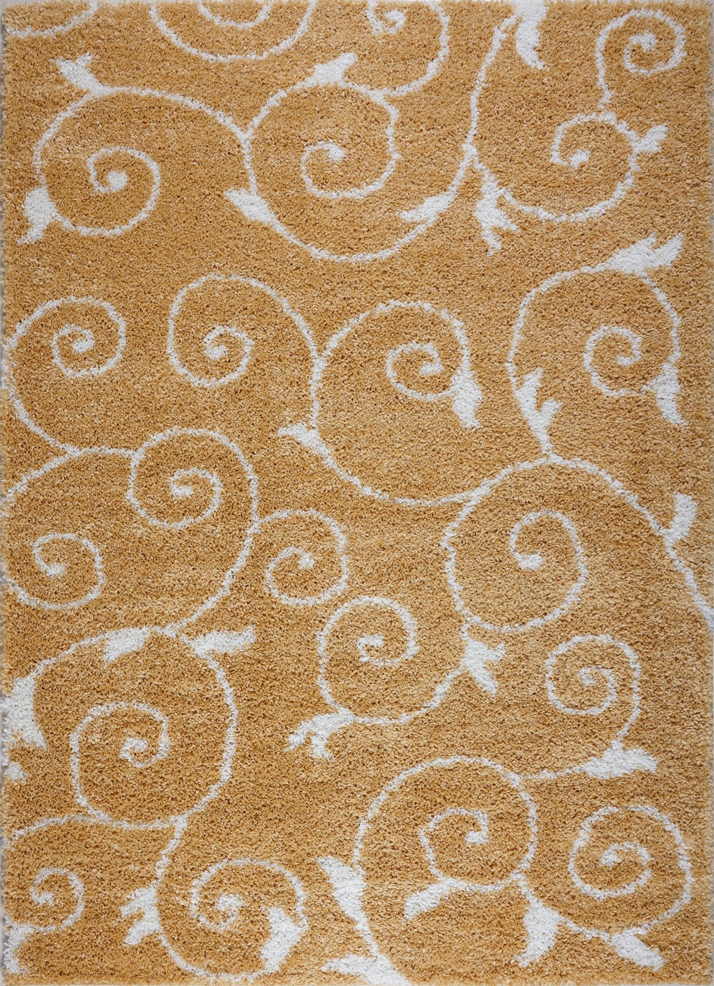 Shaggy Rabat Abstract Pattern Sustainable Spirals Style Indoor Rug in Dark Yellow White