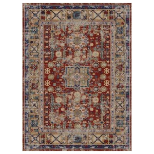 "Sylvia Flatweave Distressed Pattern Brick Red Beige Area Rug 5'2"" x 7'5"""