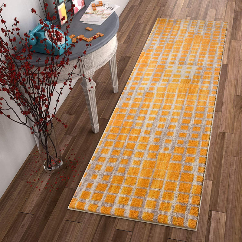 Grand Square Yellow Grey Contemporary Area Rug