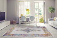 Saba Traditional Border Style Machine Made European Indoor Small Runner Rug Carpet in Cream Multicolor