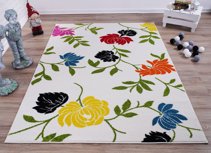 Cream and Green Made in Europe Colourful Flowers Area Rug Carpet