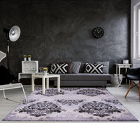 Everest Collection Milan Classic Damask Style Soft Beautiful RUG in Gray and Black