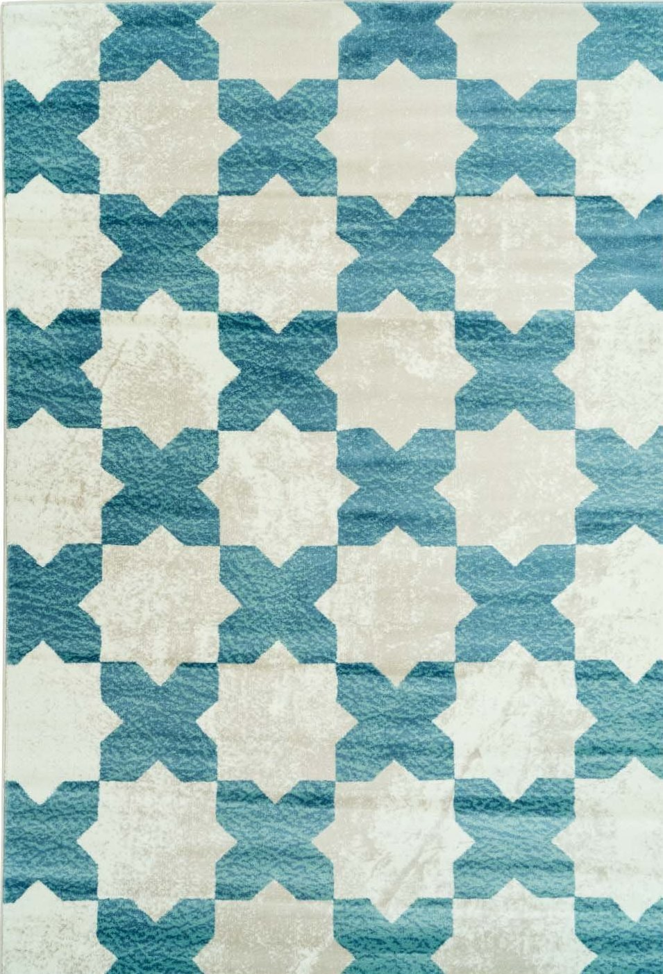 Clover Teal Cream Trellis Area Rug -