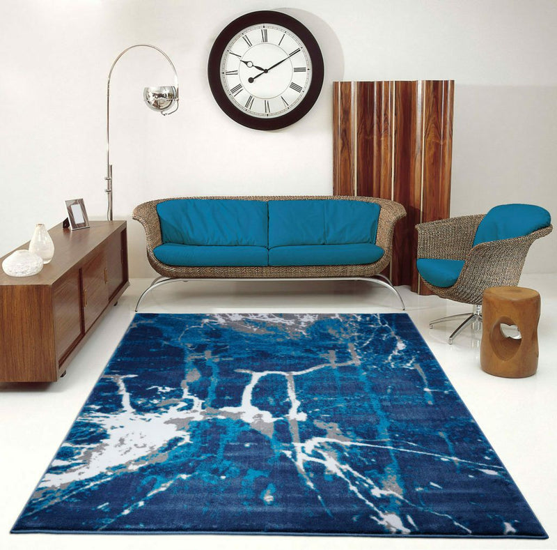 ANS10681 Anise Collection Soft Contemporary Abstract Area Rug Carpet in Blue and Grey