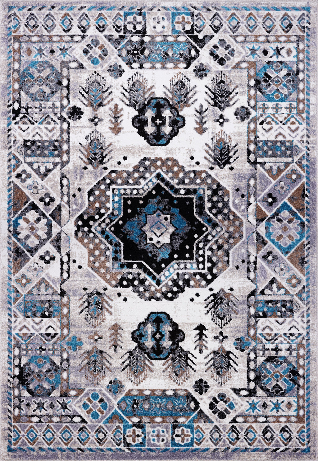 Athens Traditional Geometric Style Durable Innovative Soft Mat in Gray and Turquoise