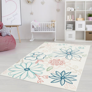 Daisy Cream Multi Area Rug